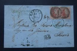 BELGIE  1861    2 X Nr. 12  Op Brief  Naar Parijs  -  Vol Randig  -   CW  350,00 - 1858-1862 Medallions (9/12)