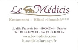 Carte De Visite - Le Médicis - Restaurant - Hôtel Climatisé - Blois - Cartes De Visite