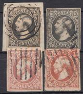"""1/2 """"Wilhelm III"""", Je 2 Versch. Farben, O Bzw. Briefsstück - 1852 Wilhelm III."""