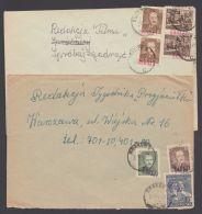 """Aus 650/62 , 2 Bedarfsbelege """"Groszy""""-Aufdrucke """"Krakow"""", 27.11.50 Und 25.7.51 - 1944-.... Republik"""