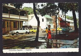 CPSM CARAÏBES - ANTILLES - SAINTE-LUCIE - CASTRIES - COLUMBUS SQUARE - TB PLAN ANIMATION TB TIMBRES - Saint Lucia