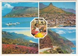 Cape Town, Surfers At Fish Hook,Sea Point/Camps Bay, Flower Seller, Chapman's Peak - Multiview - (South Africa) - Zuid-Afrika