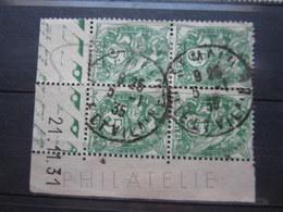 """VEND BEAUX TIMBRES DE FRANCE N° 111 EN BLOC DE 4 , CD """" 21.11.31 """" , CACHET """" ST-MALO """" !!! - 1930-1939"""
