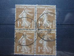 """VEND BEAUX TIMBRES DE FRANCE N° 277B EN BLOC DE 4 , CACHET """" ST-MALO """" !!! - 1906-38 Semeuse Camée"""