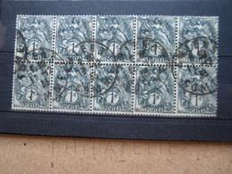 """VEND BEAUX TIMBRES DE FRANCE N° 107 EN BLOC DE 10 , CACHETS """" AMIENS """" !!! - 1900-29 Blanc"""