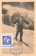 D35423 CARTE MAXIMUM CARD 1960 YUGOSLAVIA - SKIING OLYMPIC RINGS CP ORIGINAL - Winter (Other)