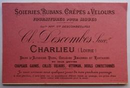 Publicité Fournitures Pour Modes, Descombes, Charlieu, Loire, Avis De Passage, Cpa - Publicité