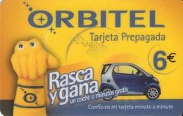 TARJETA TELEFONICA DE ESPAÑA, (PREPAGO). ORBITEL, RASGA Y GANA UN COCHE. (528). - Cars
