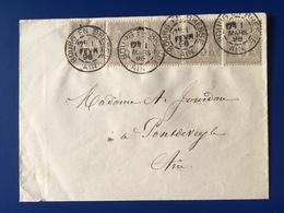 France - Lettre, Type Sage N°87, Bande De 3 + 2 Isolés / 2 Photos - (B2090) - 1877-1920: Semi Modern Period