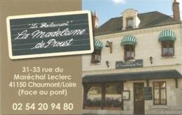 Carte De Visite - Restaurant La Madeleine De Proust - Chaumont-sur-Loire [41] - Cartes De Visite