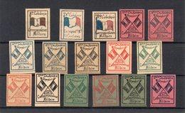 !!! NOUVELLE CALEDONIE : LOT DE 16 VIGNETTES DE FRANCHISE DE 1893 - SUPERBES - New Caledonia