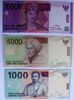 INDONESIE.LOT DE 1000.5000.et 10000 RUPIAH.ROUPIE.TBE. - Indonésie