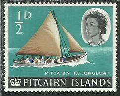 PITCAIRN ISLANDS ISOLE 1964 1965 DEFINITIVES LONGBOAT 1/2p MNH - Francobolli