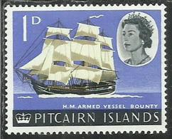 PITCAIRN ISLANDS ISOLE 1964 1965 DEFINITIVES H.M. ARMED VESSEL BOUNTY VASCELLO 1p MNH - Francobolli