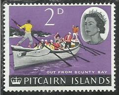 PITCAIRN ISLANDS ISOLE 1964 1965 DEFINITIVES OARSMEN ROWING LONGBOAT 2p MNH - Pitcairn