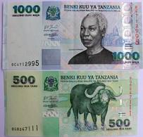 TANZANIE.lot De 500 Et De 1000 SHILINGI.SHILLING.TBE. - Tanzanie