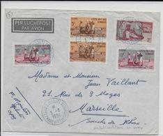 SOMALIS - 1951 - ENVELOPPE  AVION De DJIBOUTI (CACHET De VAGUEMESTRE AU DOS) => MARSEILLE - Lettres & Documents