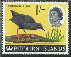 PITCAIRN ISLANDS ISOLE 1964 1965 DEFINITIVES HENDERSON ISLAND FLIGHTLESS RAIL CHICKEN BIRD UCCELLO FAUNA 1sh MNH - Francobolli
