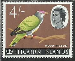 PITCAIRN ISLANDS ISOLE 1964 1965 DEFINITIVES HENDERSON ISLAND FRUIT WOOD PIGEON BIRD UCCELLO FAUNA 4sh MNH - Francobolli