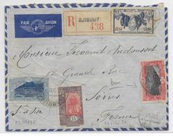 SOMALIS - 1937 - ENVELOPPE RECOMMANDEE AVION De DJIBOUTI  => SEVRES - Lettres & Documents