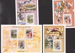Olympics 2008 Tenis Soccer, Horses, Cycling Guinea Sheet +3 S/Ss  PERF MNH - Estate 2008: Pechino