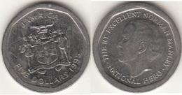 Giamaica 5 Dollars 1995 Coat Of Arms KM#163 - Used - Giamaica