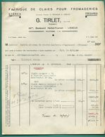 14 Lisieux G Tirlet Fabrique De Claie Pour Fromagerie 5 Novembre 1945 - Droguerie & Parfumerie