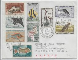SOMALIS - 1961 - ENVELOPPE De DJIBOUTI => FIRMINY - Lettres & Documents