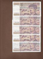LOT  DE5 BILLETS DEBUSSY NEUF C 125 € - 1962-1997 ''Francs''