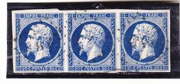 Yvert N°14 H Variété Postfs En Bande De Trois ,nuance Bleu Foncé, Ttb 1er Choix. - 1853-1860 Napoléon III