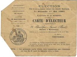 Carte D'électeur - élection Pour Le Renouvellement Intégral Des Conseils Municipaux à Montrichard 1er Mai 1904 - Old Paper
