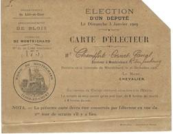 Carte D'électeur - élection D'un Député Le 3 Janvier 1909 à Montrichard - Non Classés