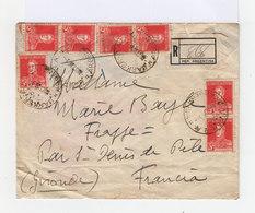 Sur Enveloppe Recommandée 3 Paires Et Un Timbre De 5 C. Rouge San Martin. CAD Barker 1928. (737) - Argentine