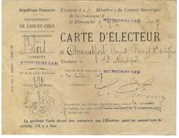 Carte D'électeur - élection De 6 Membres Du Conseil Municipal Montrichard 9 Septembre 1907 - Non Classés
