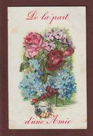 """Carte écrite - """"Souvenir D'une Amie"""" - Paillettes Collées Sur Les Fleurs - Voir La Désignation - 2 Scannes - Autres"""
