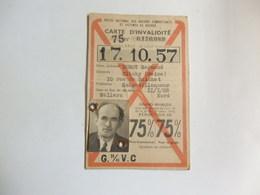 Carte D'invalidité De Durot Raymond 10, Rue Du Guichet échantillonneur De Clichy (92) Né Le 11/01/1908 à Wallers (59) - Cartes