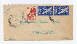 Sur Enveloppe Par Avion Paire Poste Aérienne France Libre Et Un Tirailleur Sénégalais 3 Fr. CAD 1947 . (739) - Covers & Documents