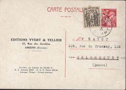 Entier CP Iris 2.4 Groseille + YT 670 CAD Amiens 17 10 46 Repiquage Editions Yvert Et Tellier Amiens Reliure Timbres - Entiers Postaux