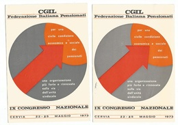 CGIL Congresso Cervia 1973 #2 Cartoline Con 13 Firme Di Delegati - Personaggi