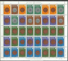 GUERNSEY GUERNESEY 1980 COINS MONETE SHEET FOGLIO MNH - Guernesey