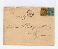 Sur Enveloppe Deux Types Sage: 35 C. Violet Noir Et Orange Et 5 C. Vert. CAD 1883 Montfort En Chalosse. (740) - Postmark Collection (Covers)