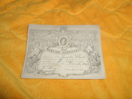 CARTE MENTION  HONORABLE DE 1884. / ECOLES CHRETIENNES LIBRES DES FRERES NIMES. DIMENSIONS 15,5CM X 11,7CM.. - Diplômes & Bulletins Scolaires