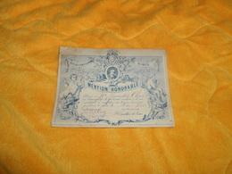 CARTE MENTION  HONORABLE DE MAI 1885. / ECOLES CHRETIENNES LIBRES DES FRERES NIMES. DIMENSIONS 15,5CM X 11,7CM.. - Diplômes & Bulletins Scolaires
