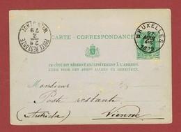 "Postlagernd: Postkarte Brüssel 1879  - ""Wien Stadt Poste Restante"" - Storia Postale"
