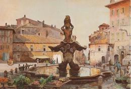 """Serie """"Roma Sparita"""" - Acquerello E. Roesler Franz - Piazza Barberini - Illustratori & Fotografie"""