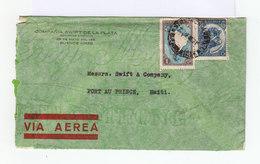 Sur Enveloppe Via Aerea Pour Haïti Deux Timbres Oblitérés 1936. (743) - Poste Aérienne