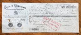 CAMBIALE  20 C.SOCIETE' VENTITIENNE PARIS  1920  CON BOLLI E FIRME AUTOGRAFE - Documentos Históricos