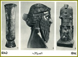 CP  Orient Mercur Verlag-IRAQ-1.Votive Vase-2.Bronze Head-3.Assur Bel,God Of Hatra - Belle-Arti