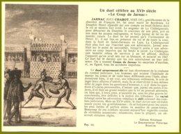 CP Edit.Artistiques Bruxelles-Un Duel Célèbre Au XVIe Siècle Le Coup De Jarnac.verso : Ern.Thill - Histoire