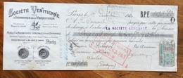 CAMBIALE 2 F. SOCIETE' VENTITIENNE PARIS  1920  CON MARCA DA BOLLO E FIRME AUTOGRAFE - Documentos Históricos